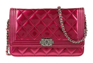 Chanel Patent Leather Silver Hardware Cross Body Bag