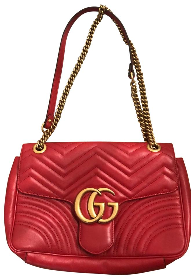 740b739e323f Gucci Never Worn Gg Marmont Medium Red Chevron Leather Shoulder Bag ...
