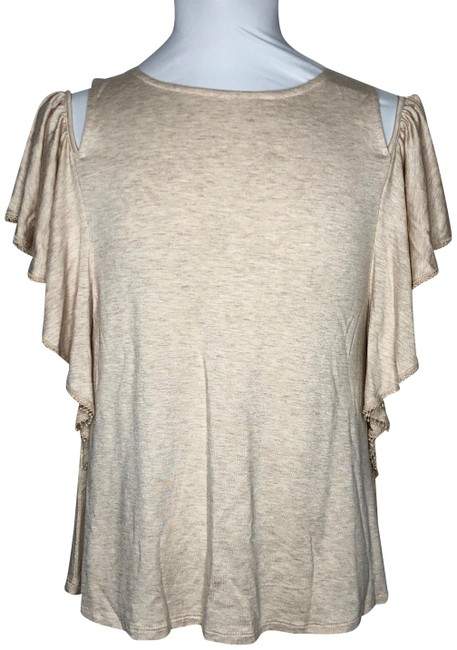 Item - Cream Cold Shoulder Small Blouse Size 4 (S)