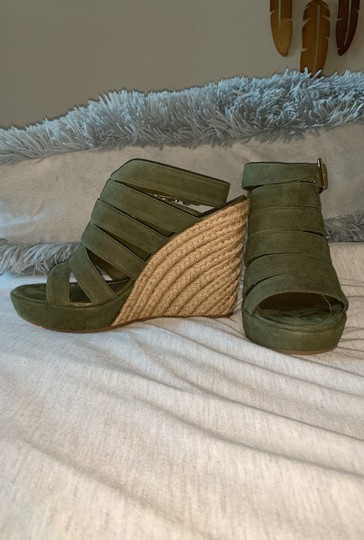 Tory Burch Olive Green Wedges Image 1