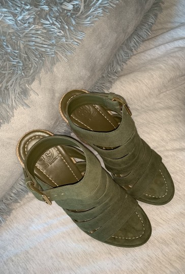 Tory Burch Olive Green Wedges Image 2