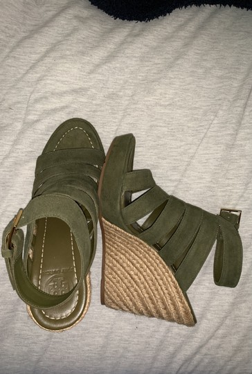 Tory Burch Olive Green Wedges Image 3