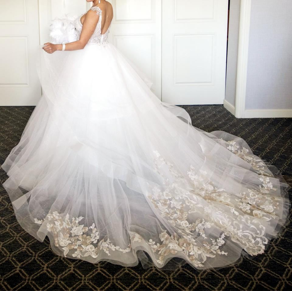 c256859d5978 Eve of Milady White Nude Beaded Satin Lace Sparkling Tulle Etc. 4363 Formal Wedding  Dress ...