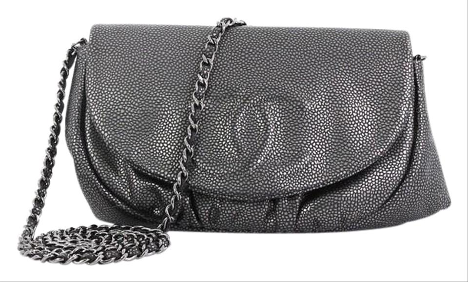 d867a70c97e9 Chanel Wallet on Chain Half Moon Caviar Metallic Gray Leather Clutch ...