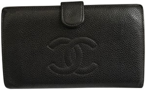 Chanel Auth CHANEL Coco Mark Caviar Skin Long Wallet