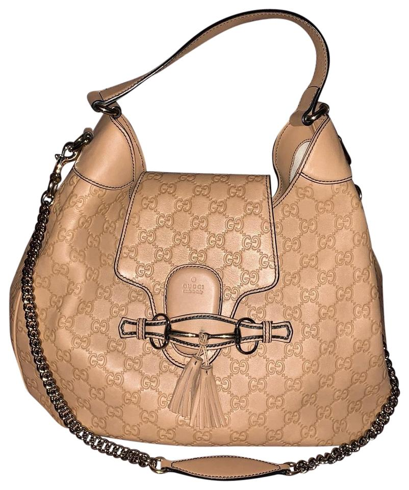 e22a3ffe3a0 Gucci Emily Guccissima Medium Soft Camelia Light Brown The Exterior ...
