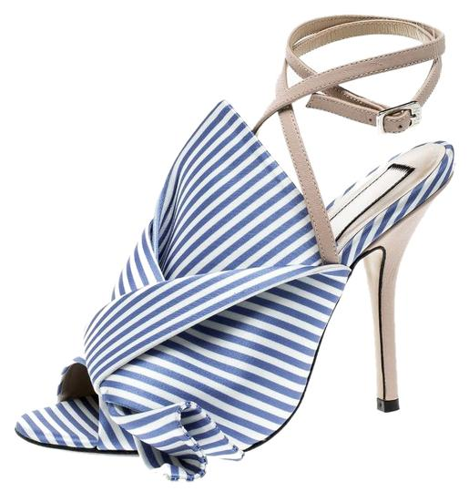 1f8936d5074 N°21 Blue Blue White Stripe Knotted Satin Gingham Ankle Wrap Peep ...
