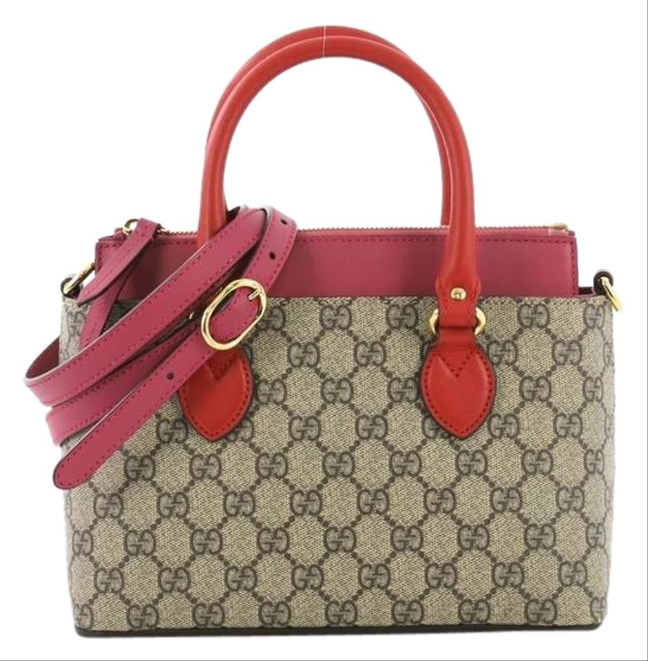09579a2fc4e Gucci Linea A Convertible Gg Coated Mini Light Brown Canvas Tote ...