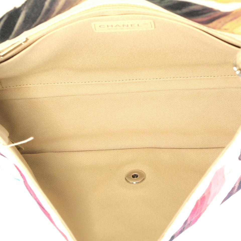 77da89949fbb Chanel Classic Flap Colorama Quilted Watercolor Jumbo White Canvas ...