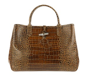 Longchamp Crocodile Leather Roseau Tote in Brown