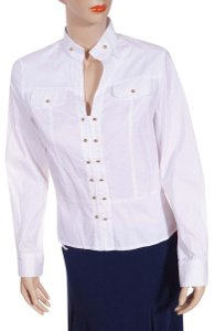 Tory Burch Overlay Sleeveless Pullover Blouse Button Down Shirt White