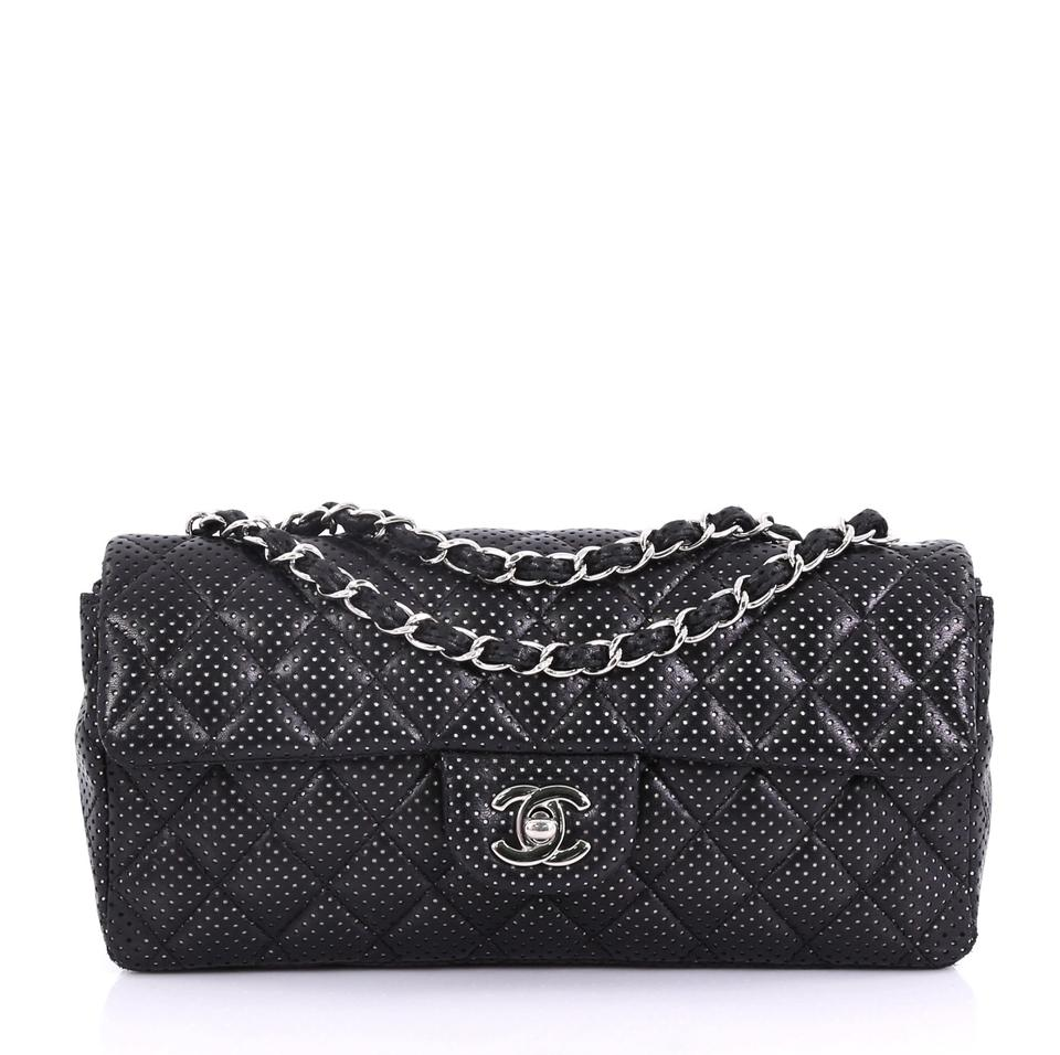 858e676a97b7 Chanel Classic Flap East West Classic Single Quilted Perforated Black  Leather Shoulder Bag