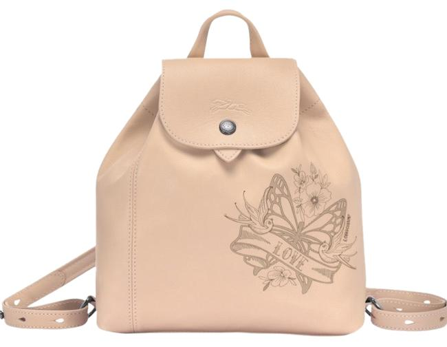 Item - XS Le Pliage Cuir Tattoo Nude Beige Leather Backpack