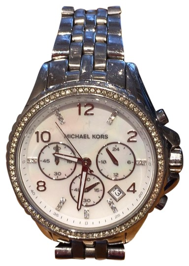 Michael Kors Ladies Silver Chronograph Watch Image 0
