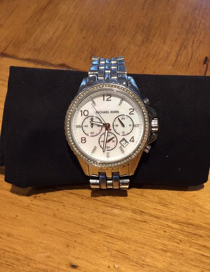 Michael Kors Ladies Silver Chronograph Watch Image 1