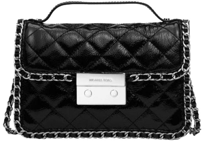 MICHAEL Michael Kors Messenger Carine Small Quilted Patent Black Leather Cross Body Bag MICHAEL Michael Kors Messenger Carine Small Quilted Patent Black Leather Cross Body Bag Image 1