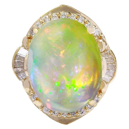 Fashion Strada 18.15 Carat Natural Opal 14K Solid Yellow Gold Diamond Ring Image 0