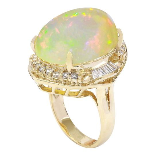 Fashion Strada 18.15 Carat Natural Opal 14K Solid Yellow Gold Diamond Ring Image 2