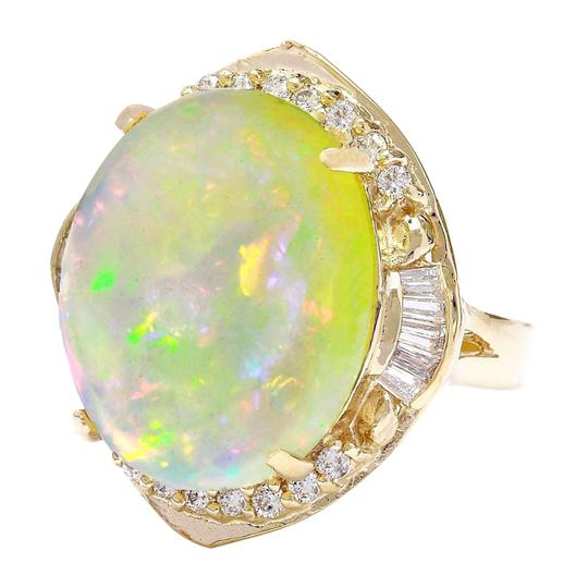 Fashion Strada 18.15 Carat Natural Opal 14K Solid Yellow Gold Diamond Ring Image 3