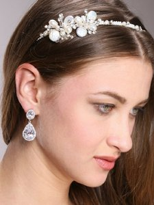 Silver Hollywood Glamour Style Crystal Event Earrings