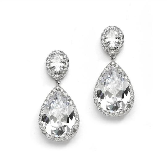 Silver Hollywood Glamour Style Crystal Event Earrings Image 1