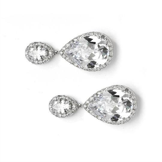 Silver Hollywood Glamour Style Crystal Event Earrings Image 2