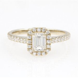 14k Yellow Gold .89 Carat Emerald Cut Halo with Round Engagement Ring