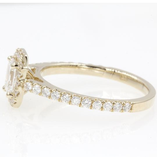 14k Yellow Gold .89 Carat Emerald Cut Halo with Round Engagement Ring Image 1