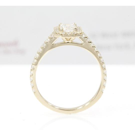 14k Yellow Gold .89 Carat Emerald Cut Halo with Round Engagement Ring Image 2