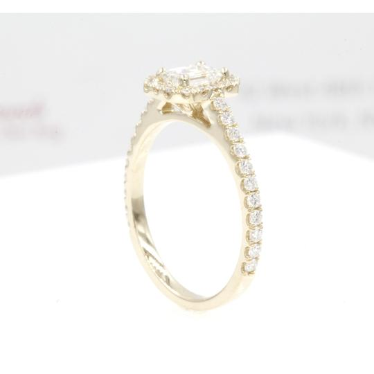 14k Yellow Gold .89 Carat Emerald Cut Halo with Round Engagement Ring Image 3