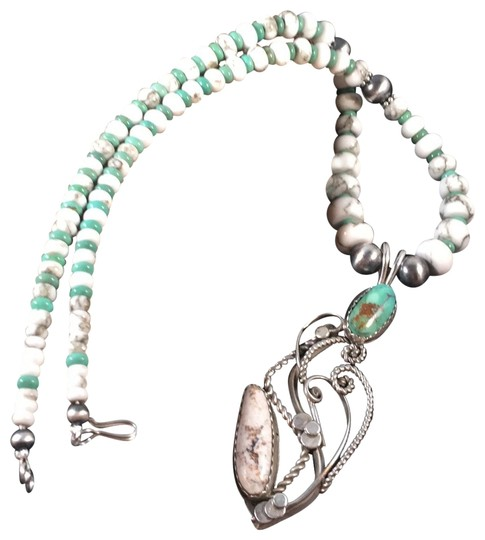 Preload https://img-static.tradesy.com/item/25148827/blue-white-buffalo-and-kingman-turquoise-sterling-silver-pendant-necklace-0-2-540-540.jpg