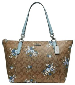 Coach Leather Zip Chain Monogram Floral Tote in khaki blue