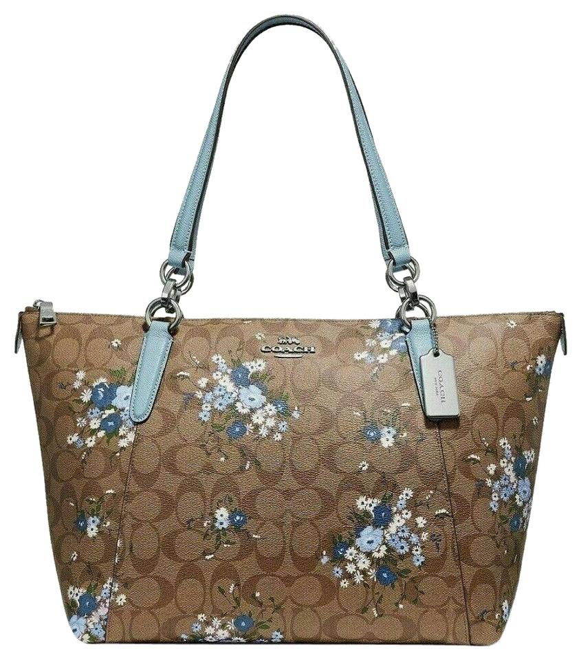 5c8959c4ad Coach Shoulder Bag New Classic Signature Floral Print Zipper Handbag Khaki  Blue Leather Tote