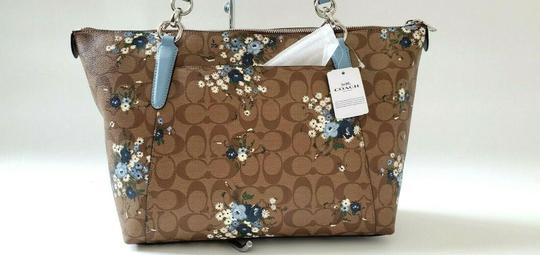Coach Leather Zip Chain Monogram Floral Tote in khaki blue Image 8