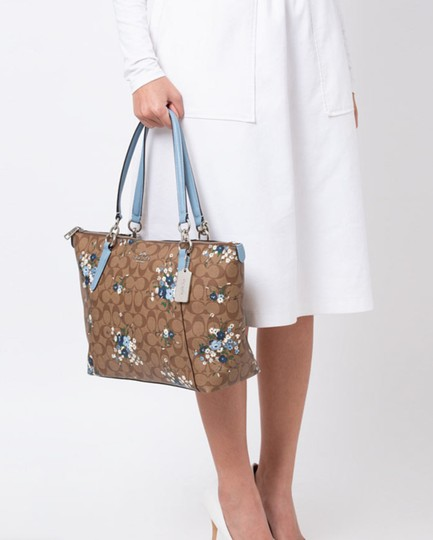 Coach Leather Zip Chain Monogram Floral Tote in khaki blue Image 1