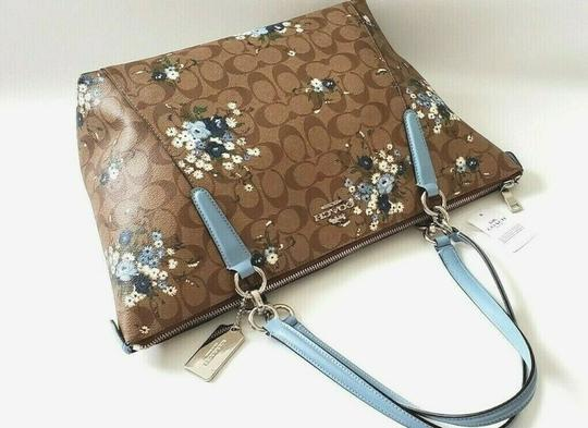Coach Leather Zip Chain Monogram Floral Tote in khaki blue Image 2