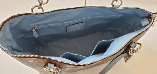 Coach Leather Zip Chain Monogram Floral Tote in khaki blue Image 3