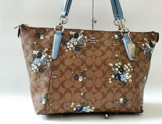Coach Leather Zip Chain Monogram Floral Tote in khaki blue Image 4
