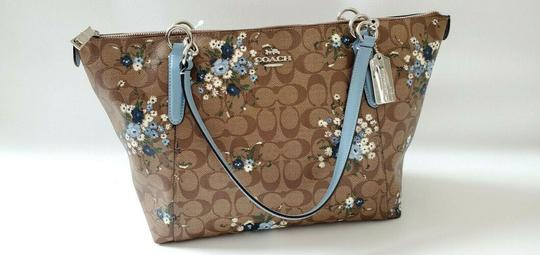 Coach Leather Zip Chain Monogram Floral Tote in khaki blue Image 6
