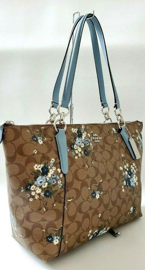 Coach Leather Zip Chain Monogram Floral Tote in khaki blue Image 7