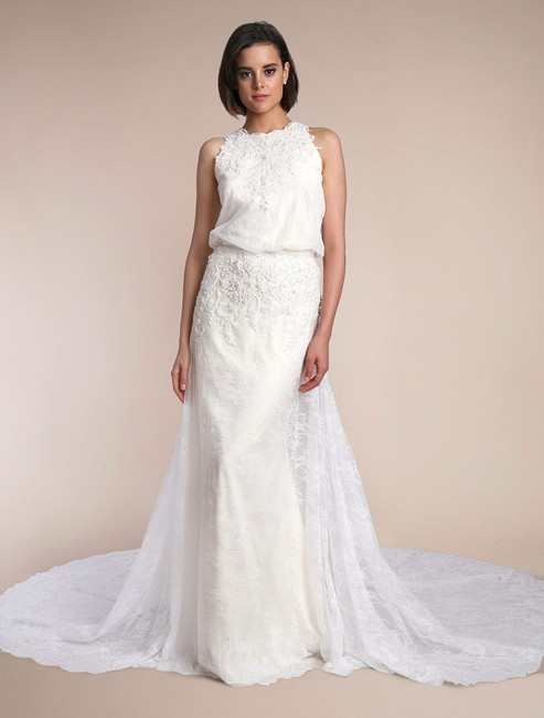 Carmen Marc Valvo Creme (Ivory) Lace W/ Stretch Lining Heather C90004 Formal Wedding Dress Size 6 (S) Carmen Marc Valvo Creme (Ivory) Lace W/ Stretch Lining Heather C90004 Formal Wedding Dress Size 6 (S) Image 1