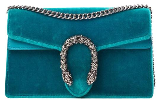 5f299e5cf1c Gucci Dionysus Super Mini Peacock Teal Chain Tiger Head Blue Velvet ...