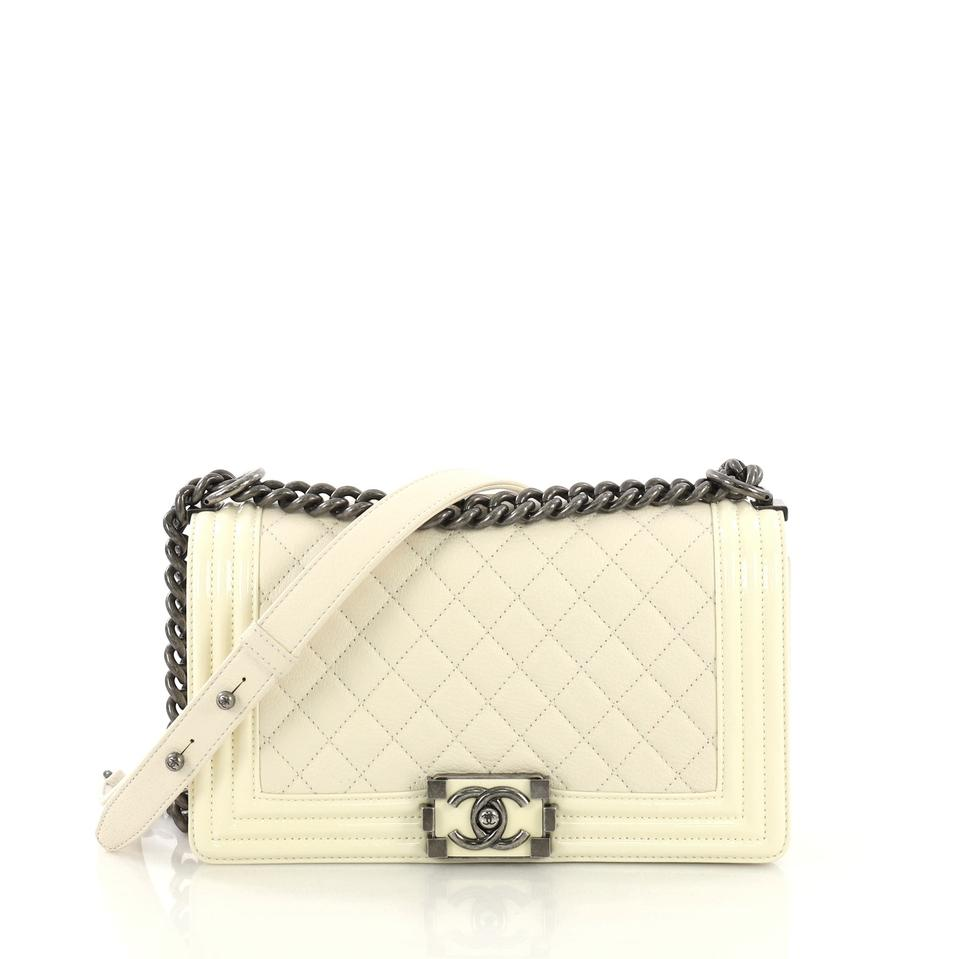 4a56d681bd4c Chanel Classic Flap Boy Quilted with Patent Old Medium White Goat ...