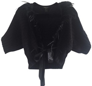 Mango Statement Date Feather Sateen Bow Tie Top Black