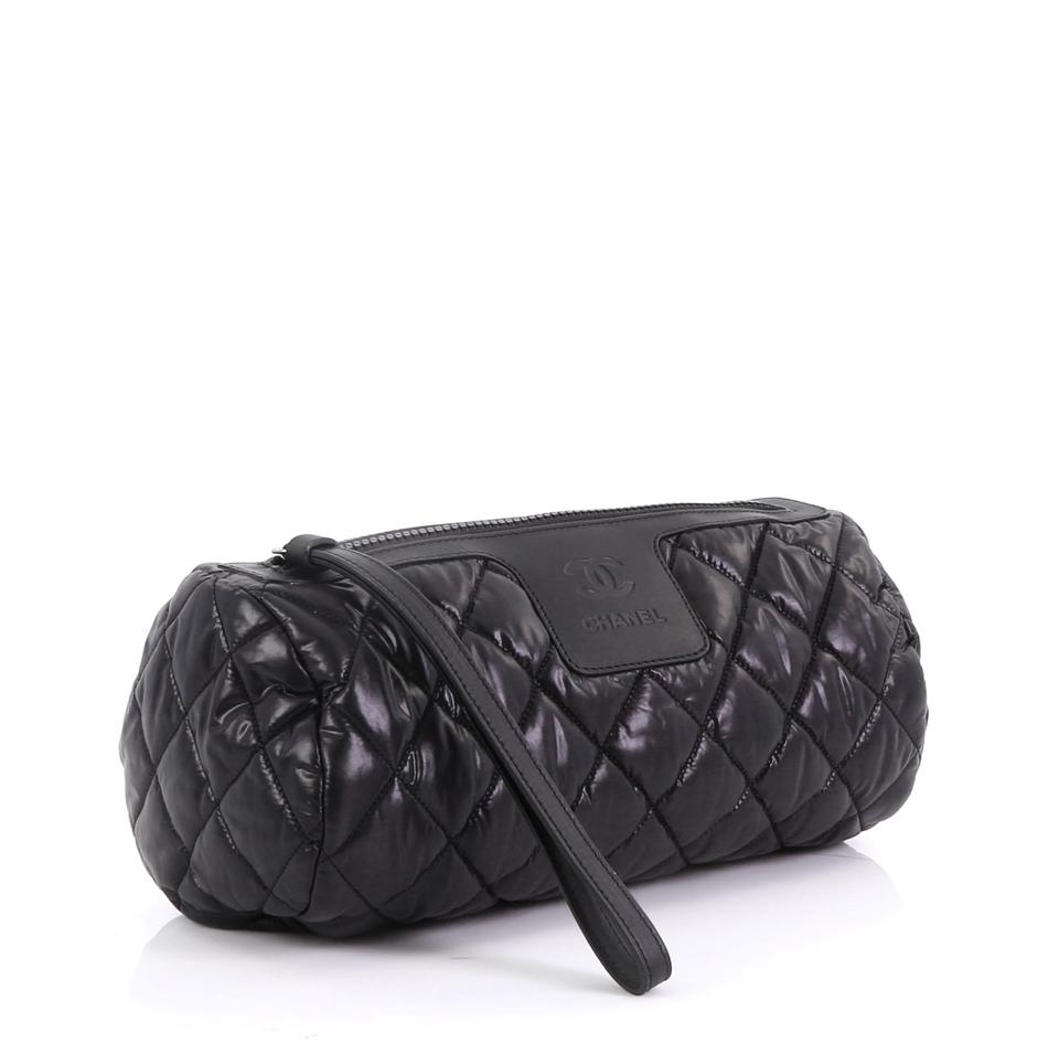 1e4393b8ded90a Chanel Cosmetic Pouch Cocoon Coco Quilted Black Nylon Clutch - Tradesy