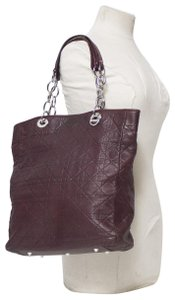 Dior Cannage Quilted Lady Tote in Burgundy