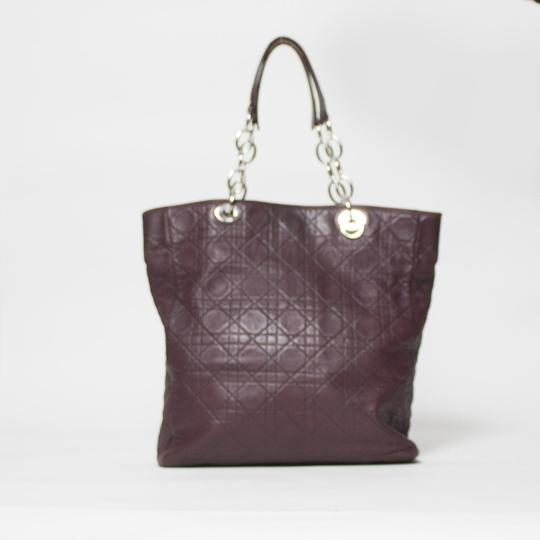 Dior Cannage Quilted Lady Tote in Burgundy Image 1