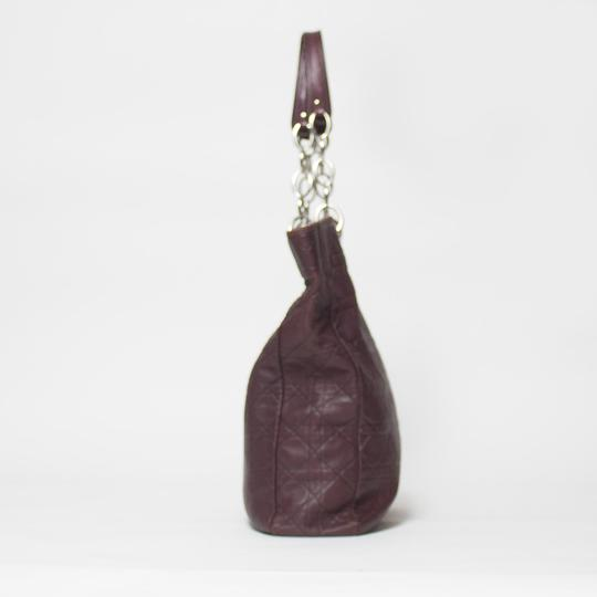 Dior Cannage Quilted Lady Tote in Burgundy Image 2