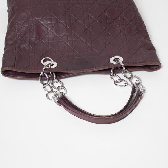 Dior Cannage Quilted Lady Tote in Burgundy Image 6
