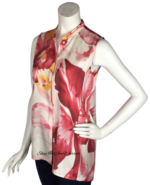 Lafayette 148 New York Top Pink, white Image 2